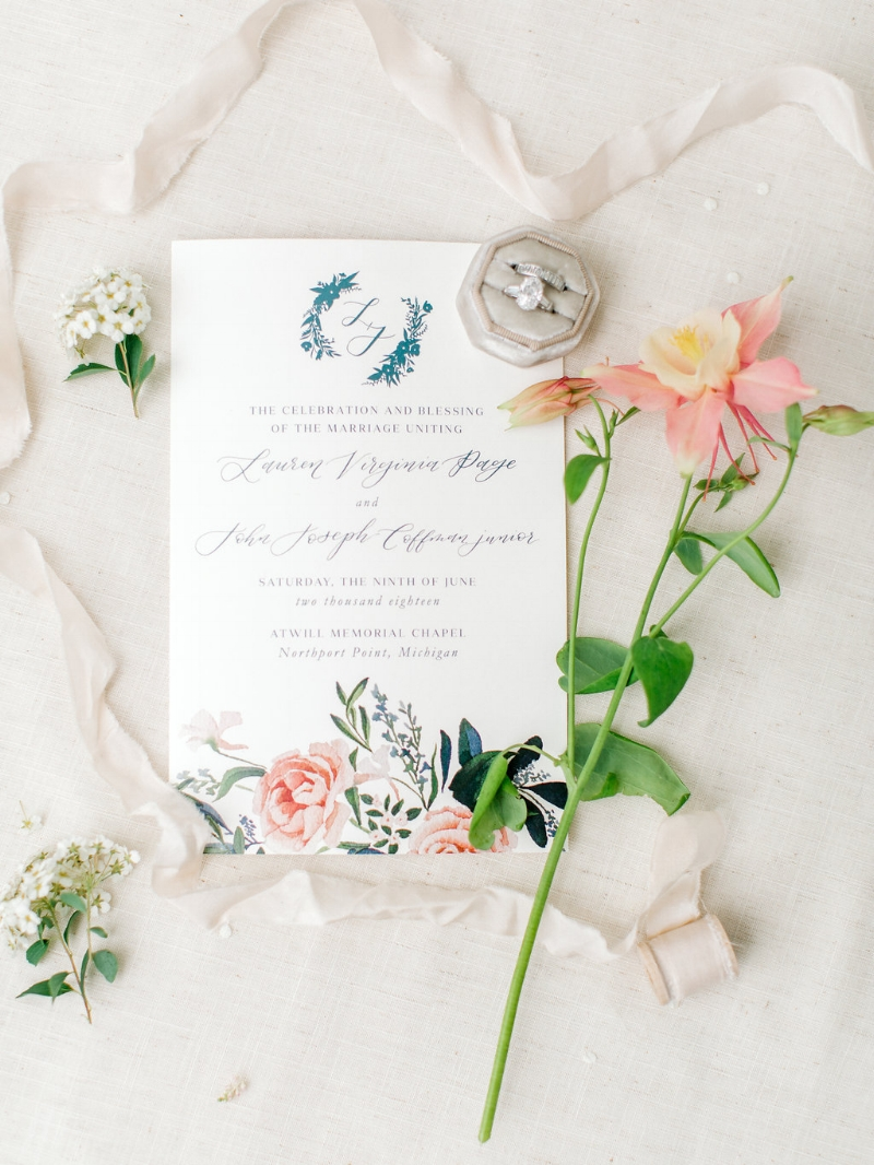 custom floral watercolor wedding program by sable and gray