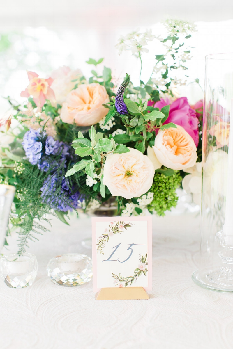 custom watercolor floral wedding table numbers by sable and gray
