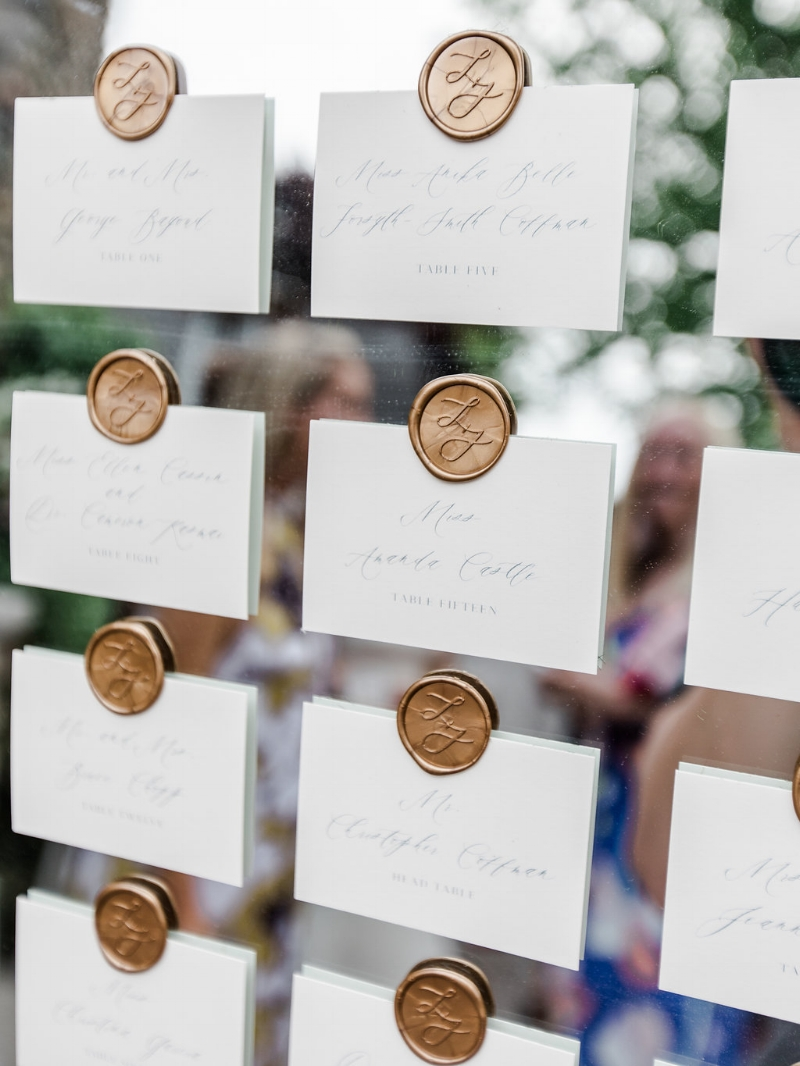 custom wax seal escort cards by sable and gray