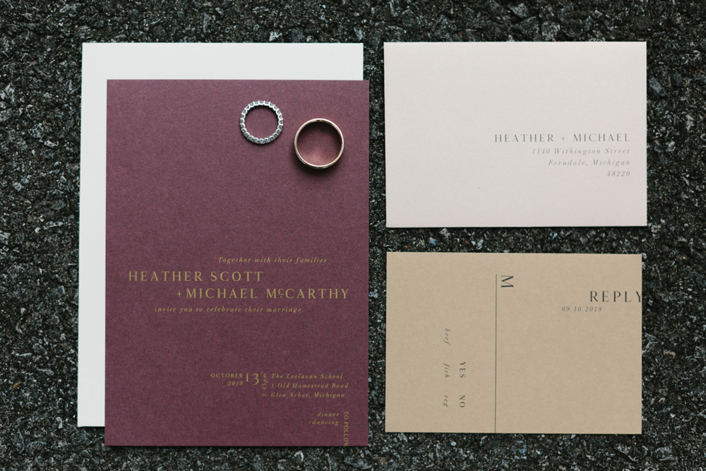 Custom fall minimal wedding invitation suite by sable and gray
