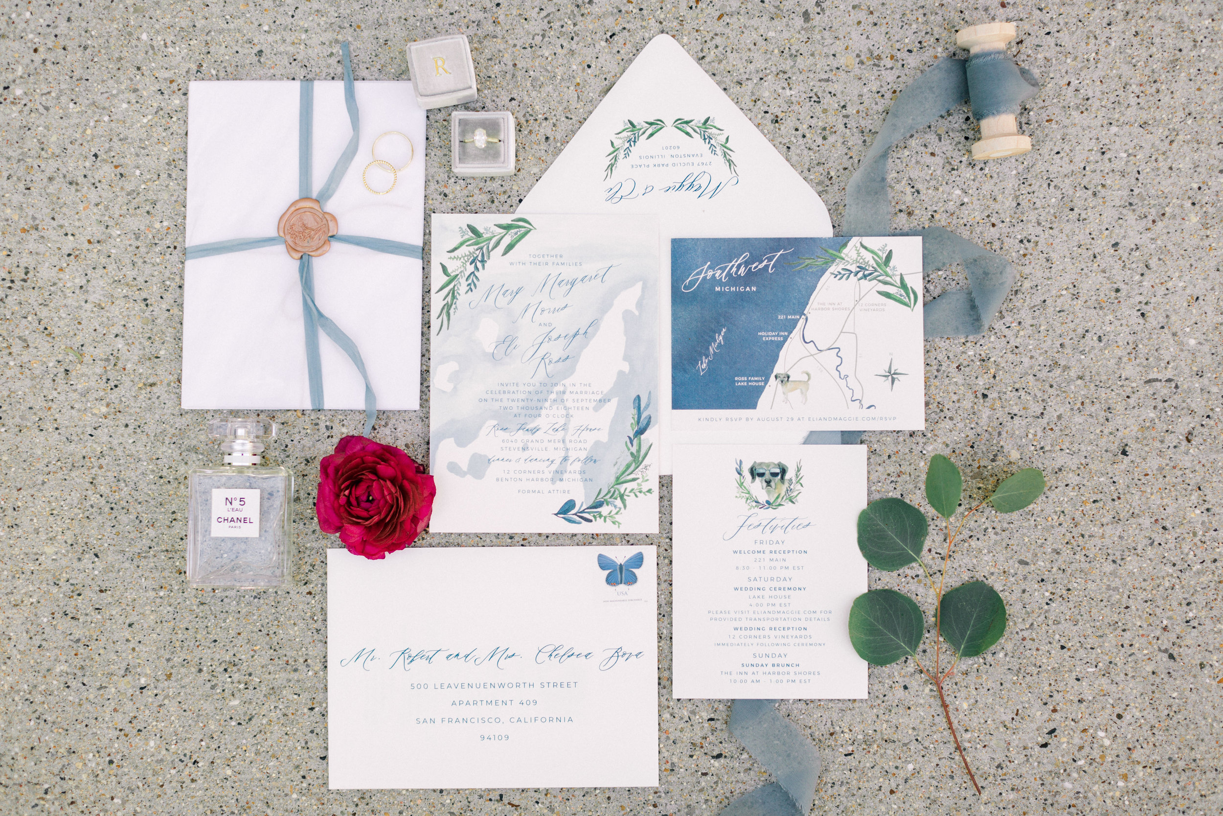 semi custom wedding invitation suite by sable and gray