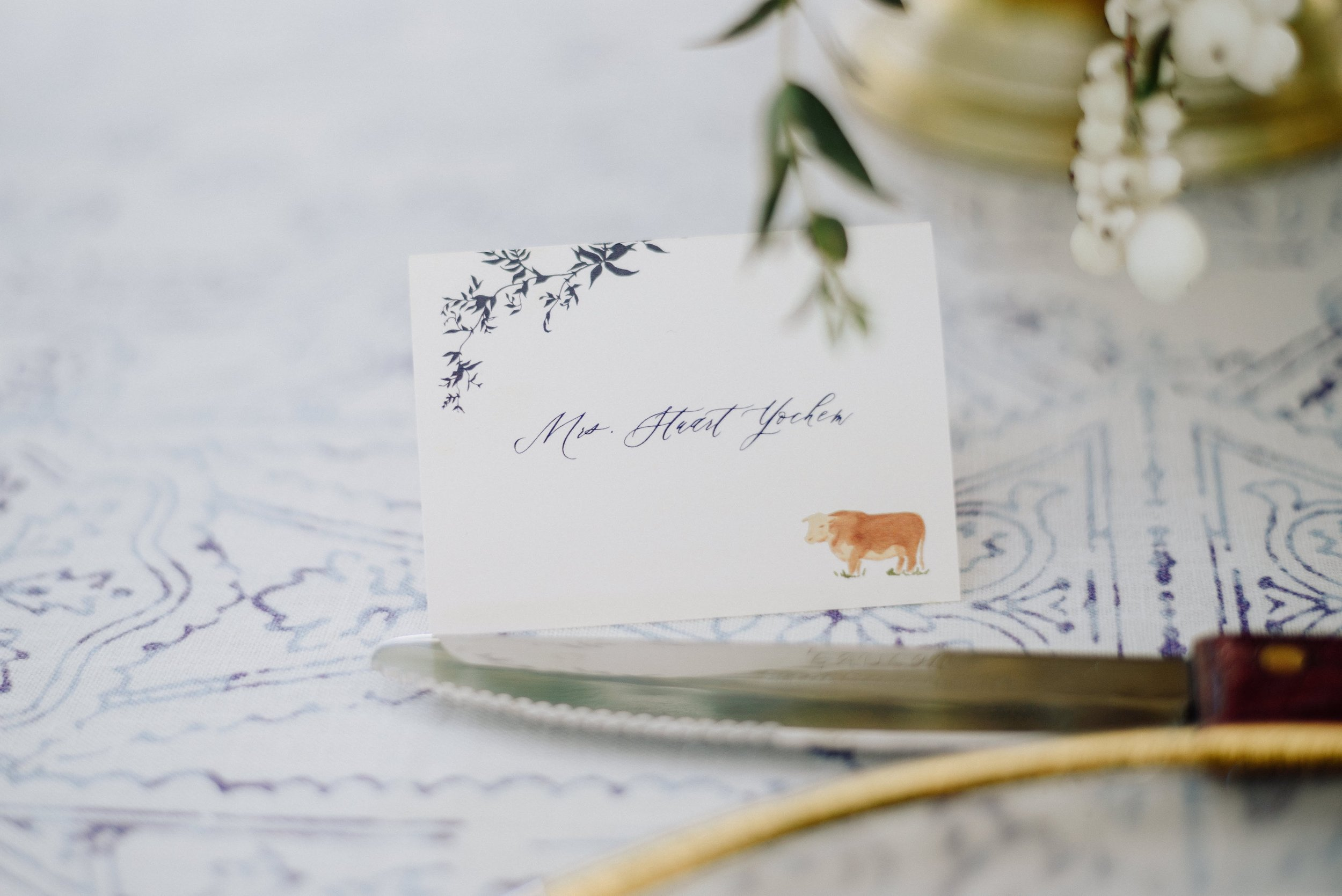custom place cards by sable and gray
