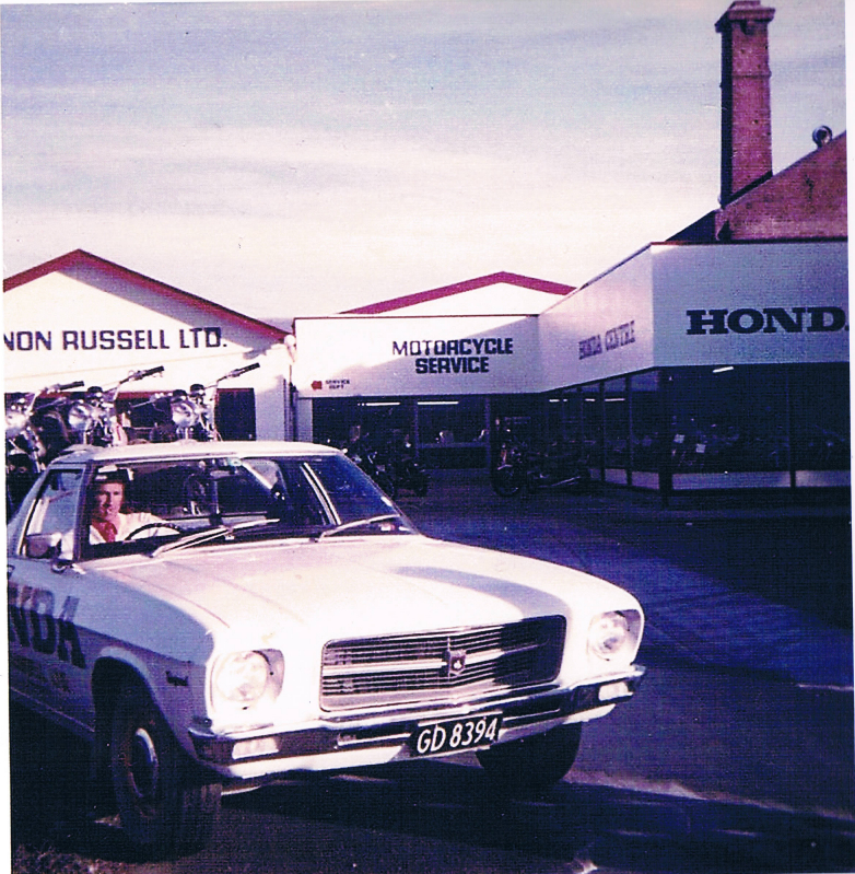Circa 1974: The HQ delivery ute loaded with SL125's, salesman Joe Green at the wheel.