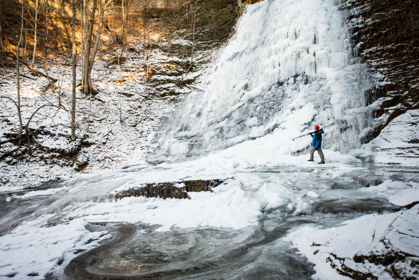 Lick Brook Falls; Paul for scale