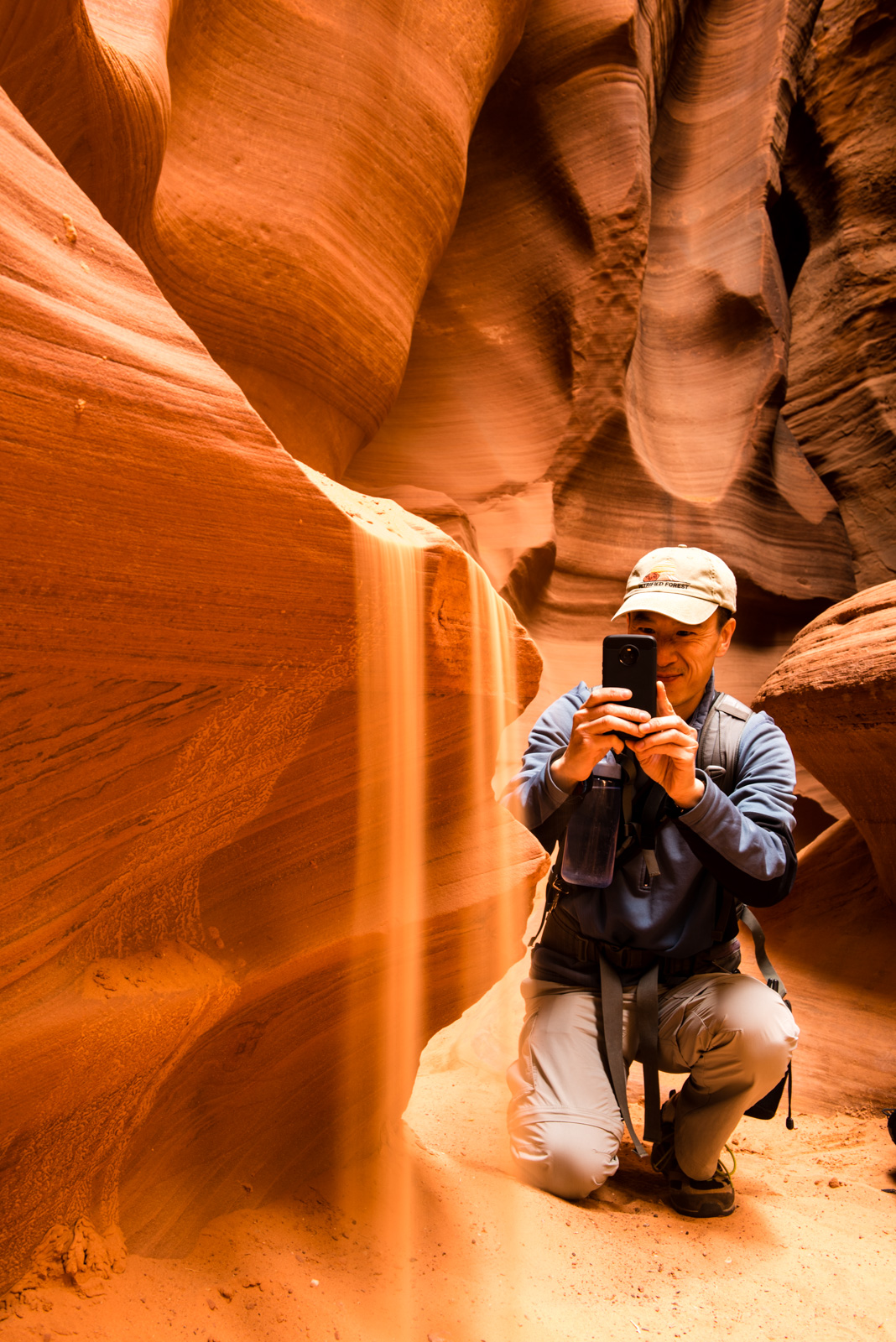 Paul practicing his smartphone-ography on the sand falls