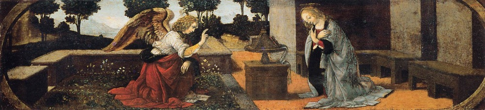 1478-82 Annunciation oil on panel 16 x 60 cm . Louvre, Paris. Thought to be by, or partly by Leonardo and Lorenzo di Credi.