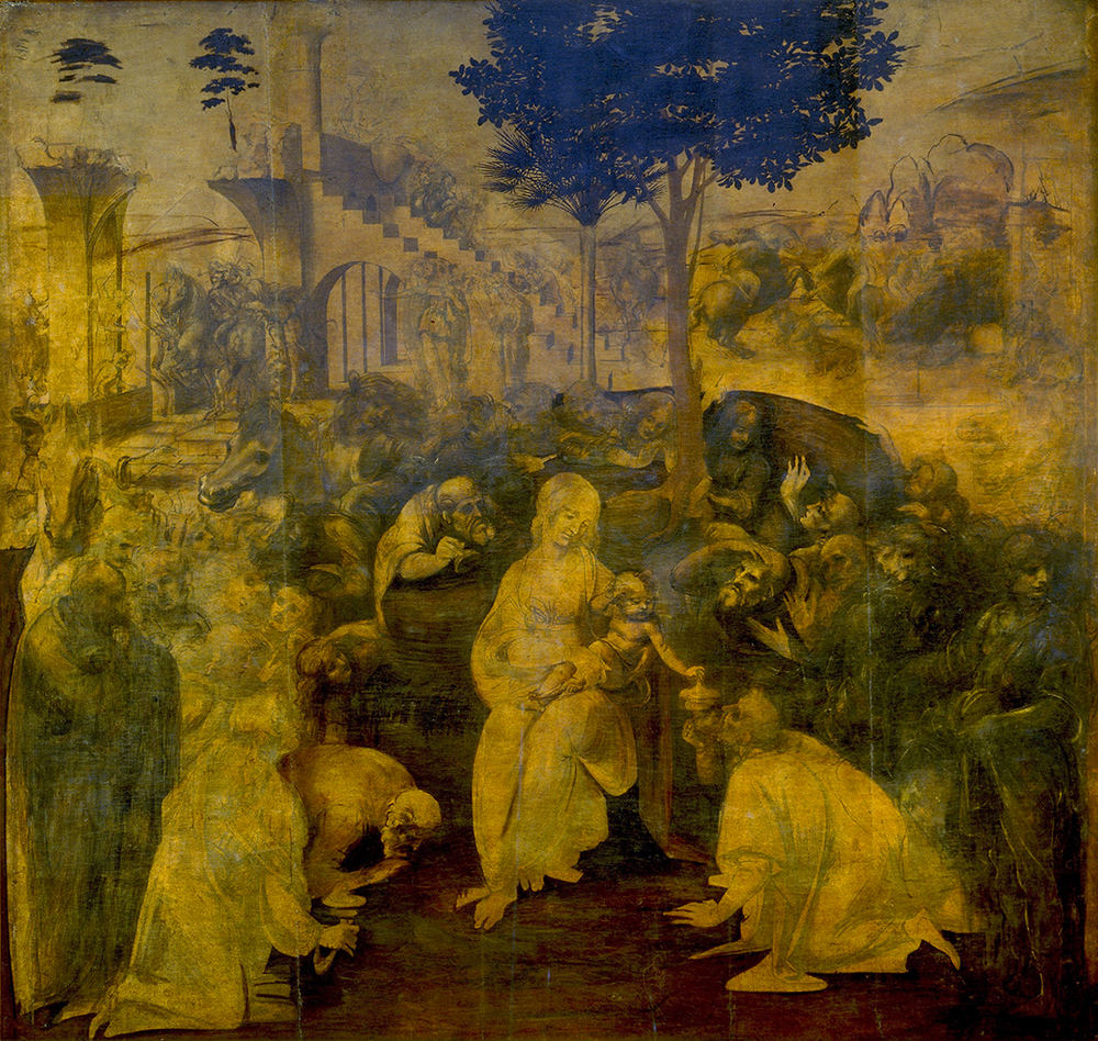 1481  Oil (underpainting) on wood panel  240×250cm, 96×97in  Florence, Uffizi