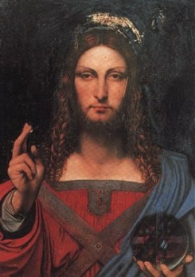 Salvator Mundi  by  Bernardino Luini   (A collaborator with Leonardo)