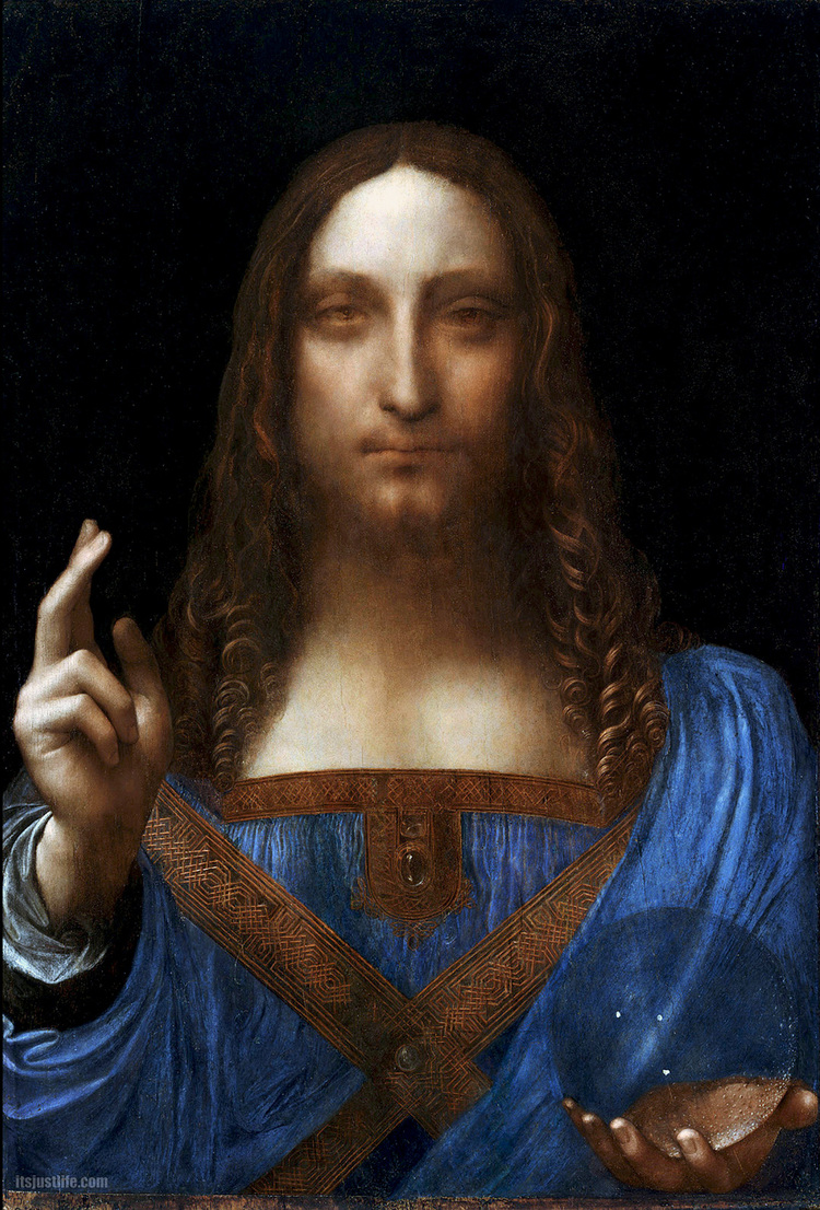 Salvator Mundi   c. 1490-1519    Oil on walnut    45.4 cm × 65.6 cm (25.8 in × 17.9 in)    Private collection, New York City