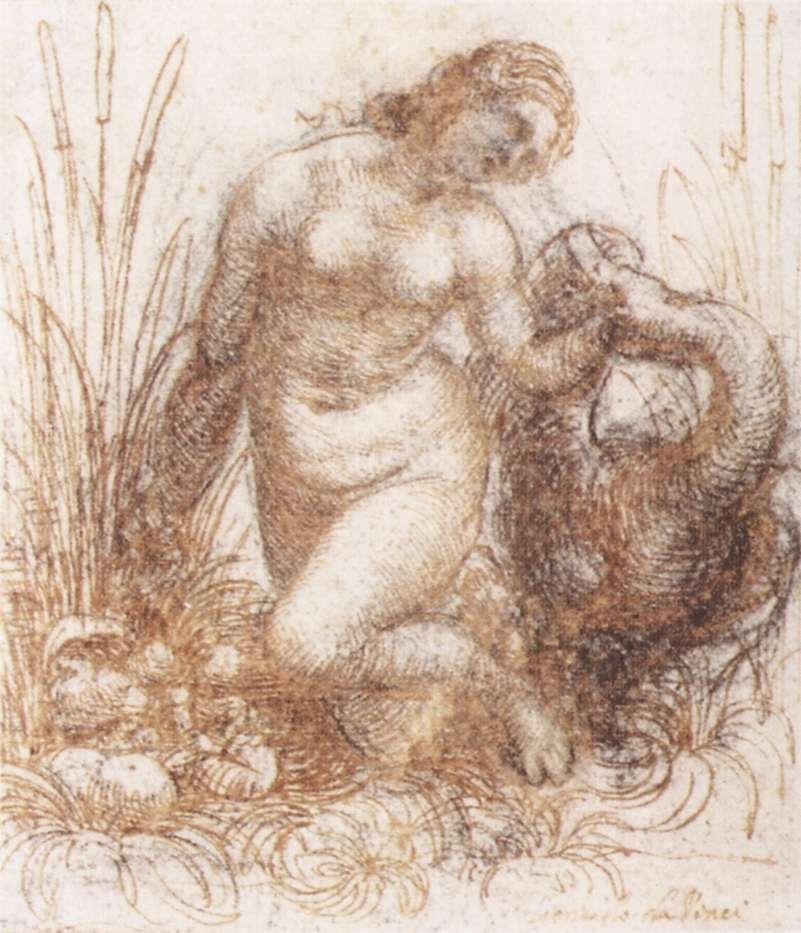 Study for kneeling Leda, black chalk, pen and ink on paper, 126 x 109 cm. 1503 - 1507, Museum Boijmans Van Beuningen, Rotterdam