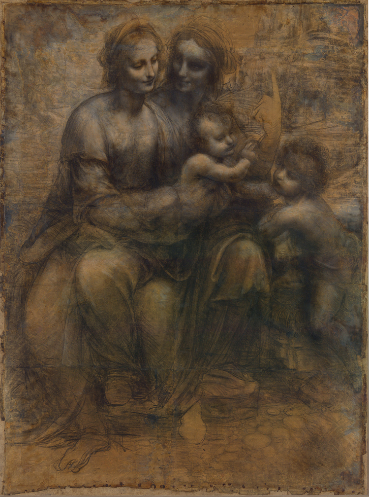 c. 1499–1500 or c. 1506–8  Charcoal, black and white chalk on tinted paper mounted on canvas  55.7 in × 41.2 in  National Gallery, London