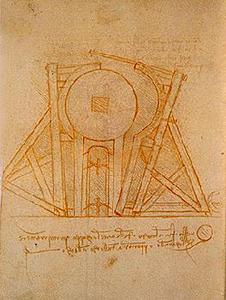 Device for transporting the mould of the Sforza monument.  Madrid Ms. II (BNM), c. 155v