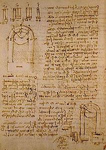 Study of the power of pulleys.  Codice di Madrid II (BNM), c. 99v