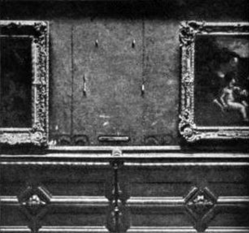 The wall after the Mona Lisa was stolen
