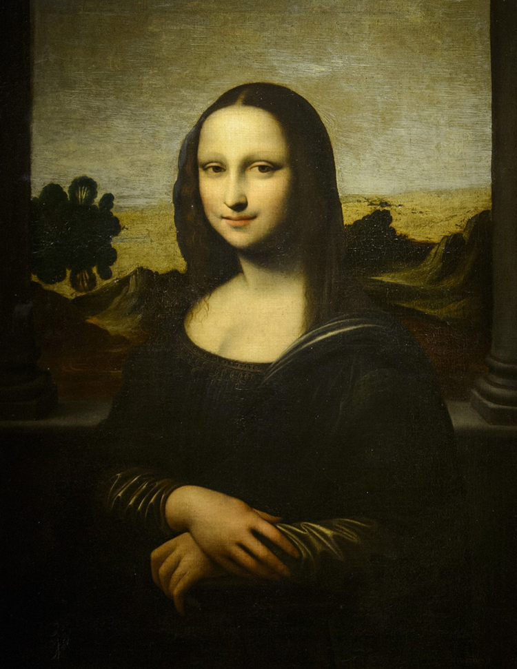 Thought to be painted (mostly) by Leonardo himself, before the version of the Mona Lisa in the Louvre.