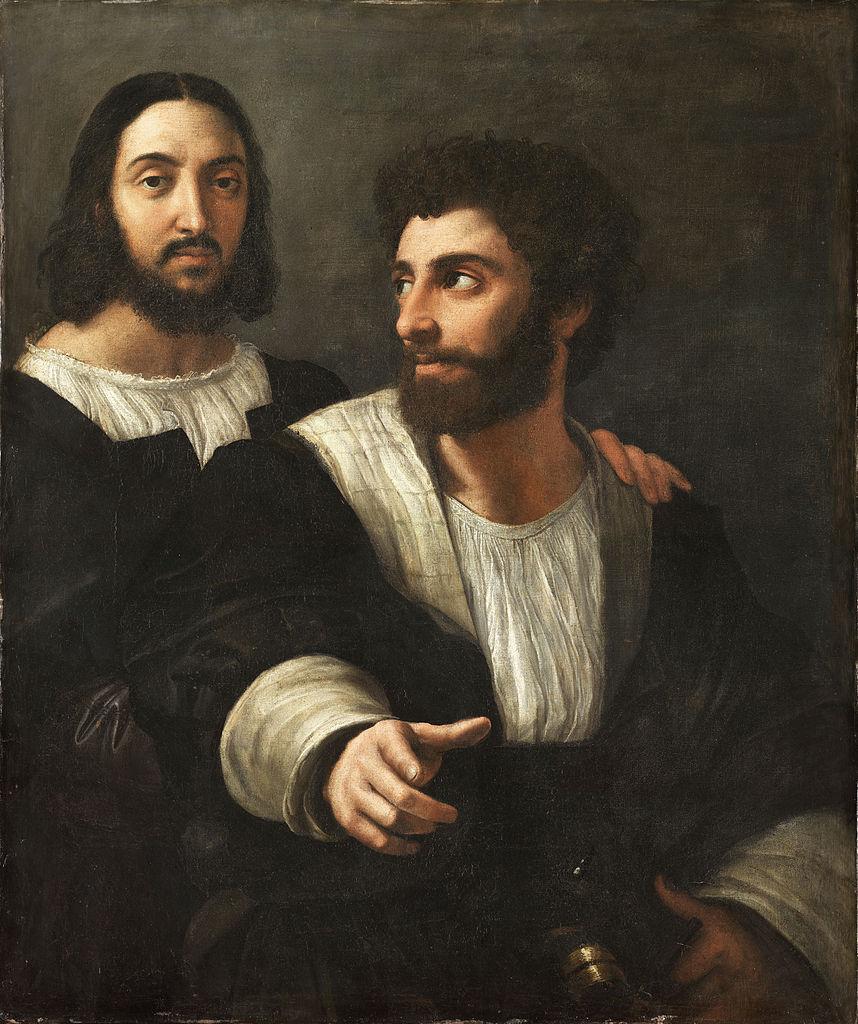 858px-Portrait_de_l'artiste_avec_un_ami,_by_Raffaello_Sanzio,_from_C2RMF_retouched.jpg
