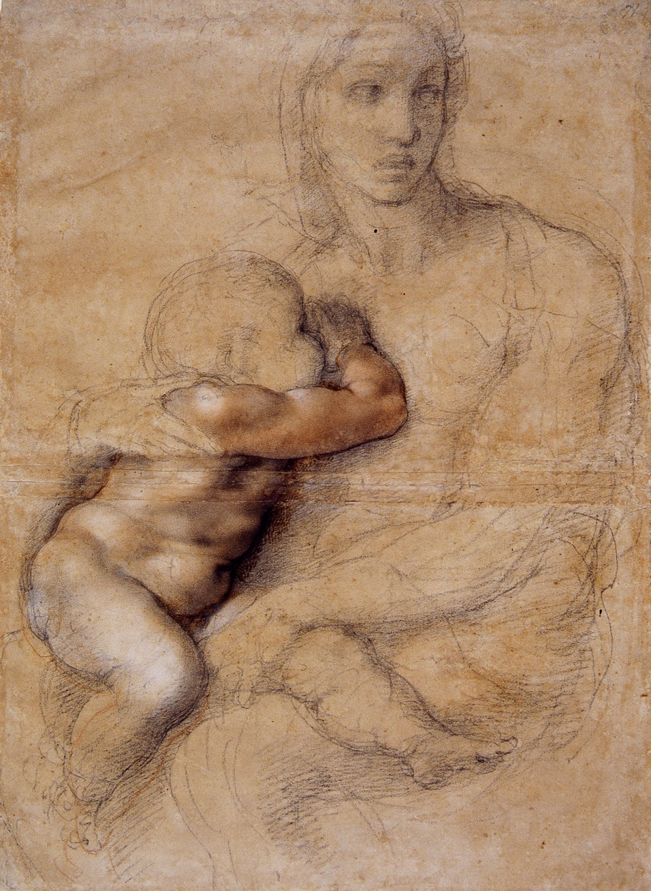Madonna and Child drawing, 1520-25, Michelangelo Buonarroti