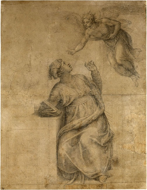 Michelangelo Buonarroti   (1475–1564)   Annunciation to the Virgin   Black chalk, some stumping, on paper; traced with a stylus   15 1/8 x 11 11/16 inches (383 x 297 mm)   Purchased by Pierpont Morgan, 1909; IV, 7
