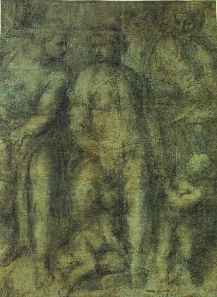 Michelangelo Buonarroti, 1475 - 1564   The Epifania  1550-3  Black chalk, rubbed in places. 232.7 x 165.5 cm  The British Museum, London
