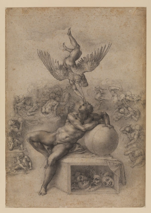 Michelangelo Buonarroti  - The Dream of Human Life, c. 1533, Black chalk, 39.4 x 27.7 cm
