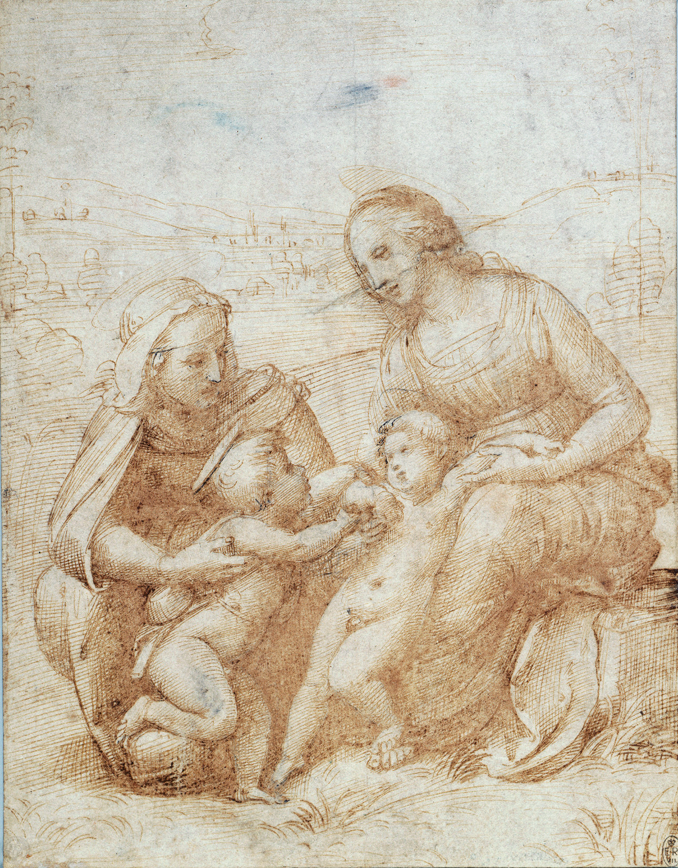 """The Virgin and Child with St Elizabeth and the Infant St John  c.1506 23.4 x 18.0 cm    """" Description:   A drawing showing the seated Virgin on the right, with the Christ Child, leaning against her; on the left is St Elizabeth with the Infant St. John the Baptist, who clutches the right arm of Christ. The scene is set in landscape.  This drawing dates from the time Raphael spent in Florence between 1504 and 1508, when he made a number of paintings of the Virgin and Child. Although this drawing has been connected to a surviving painting, the Canigiani Holy Family (now in Munich), it differs significantly from the finished work and may have been made with another project in mind."""""""