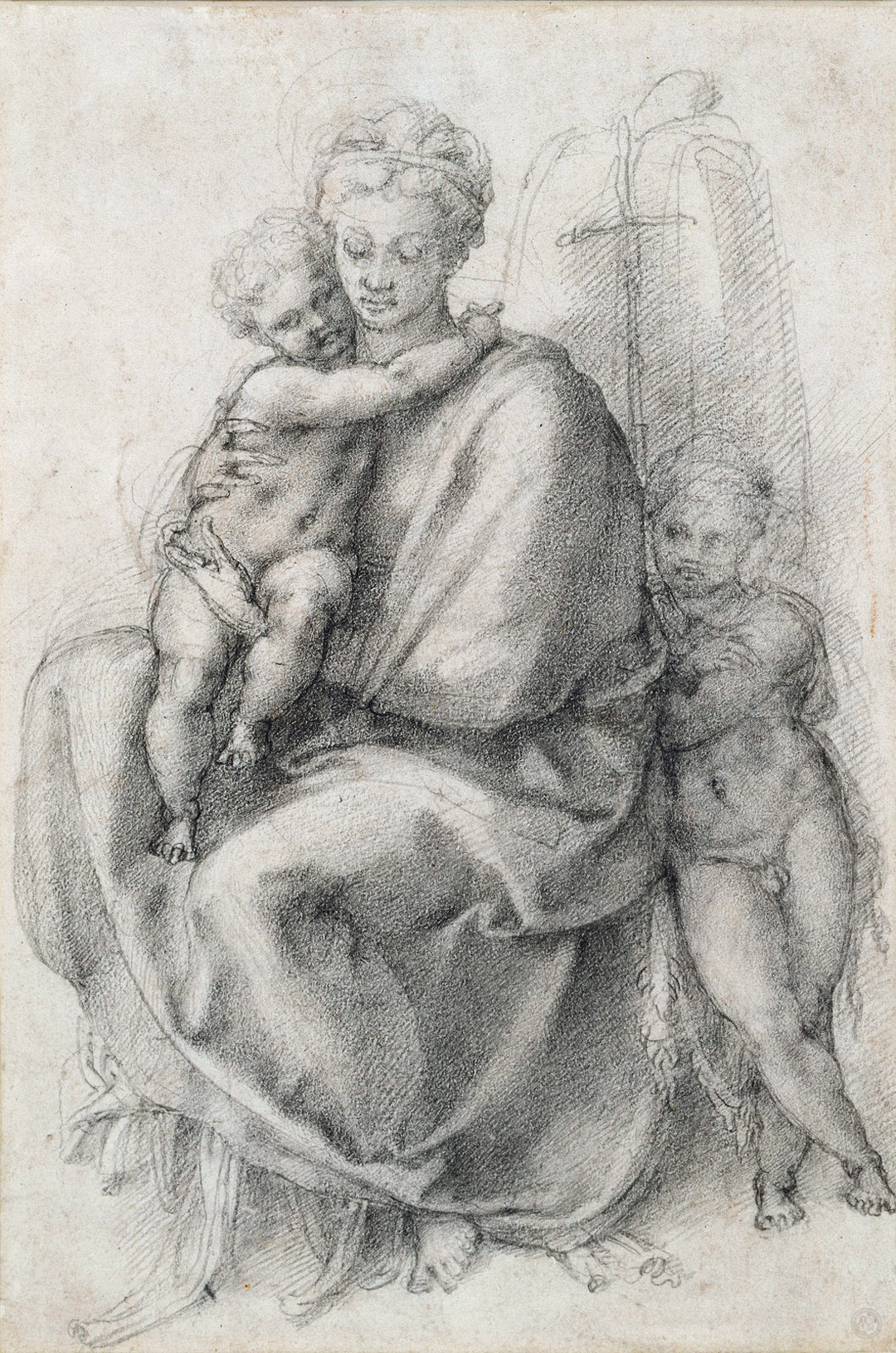The Virgin and Child with St John the Baptist.