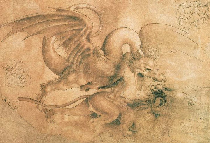 Leonardo da Vinci - Drawings - Animals - Dragon vs Lion.jpg
