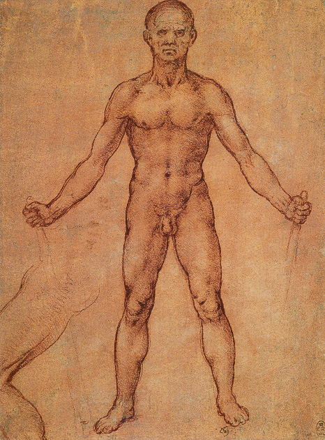 Sketch of a Nude Man Holding Something