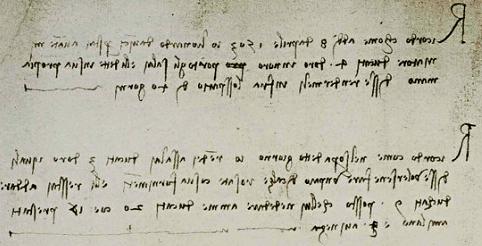 Ricordo: come addì 8 d'aprile 1503 io Lionardo da Vinci prestai a Vante miniatore ducati 4 d'oro in oro, portògli Salaì e li dette in sua propia mano. Disse rendermeli infra lo spazio di 40 gionri.   Ricordo: come nel sopra detto giorno io rendei a Salaì ducati 3 d'oro, i quali disse volersene fare un paio di calze rosate co' sua fornimenti. E li restai a dare ducati 9 - posto che lui ne de' dare a me ducati 20, cioè 17 prestati a Milano e 3 a Vinegia.