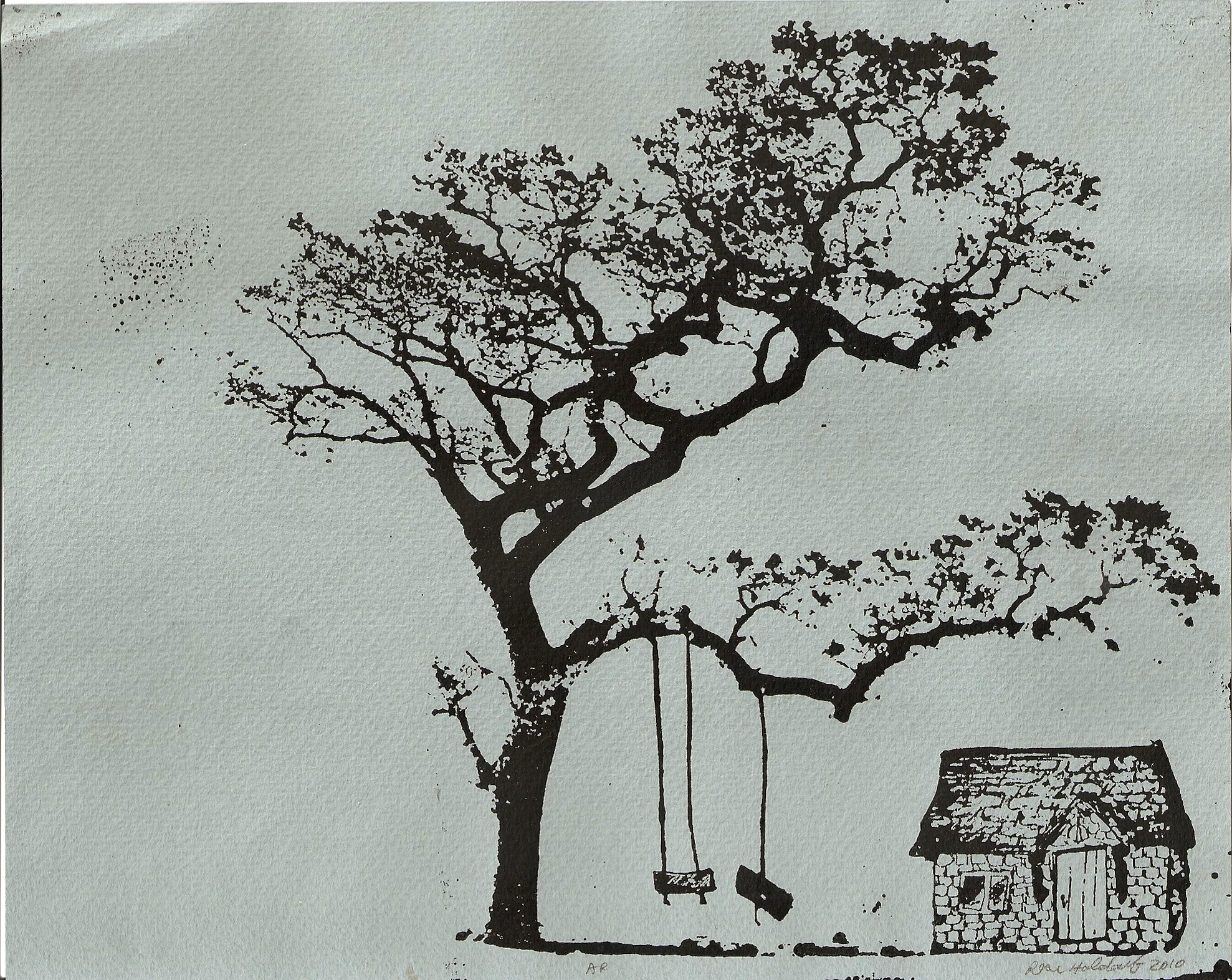 Tree House   Photopolymer print,  2010.