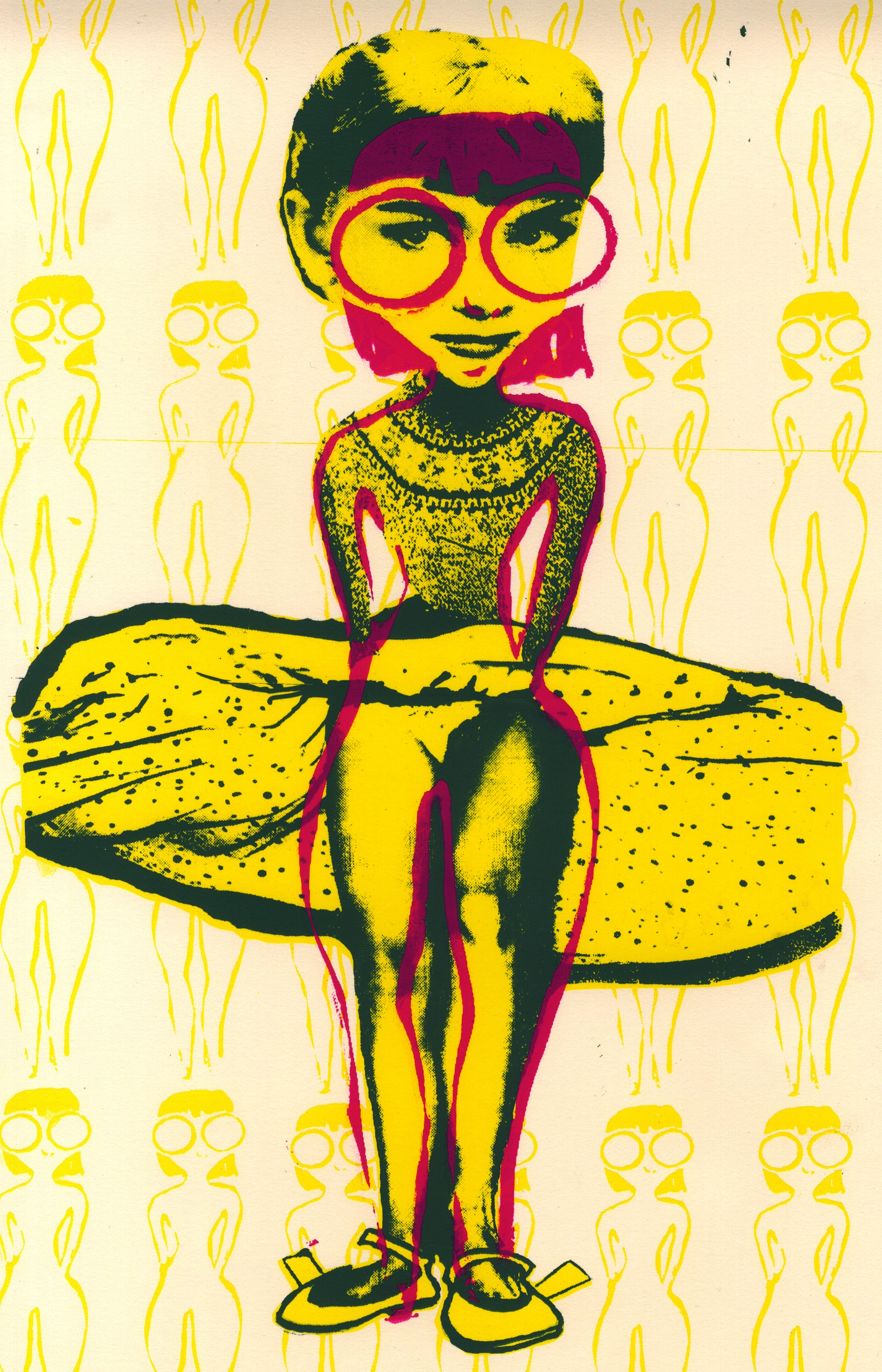 Oft in Beauty She Walks the Night: An Exquisite Corpse   Silk screen,  2010 .