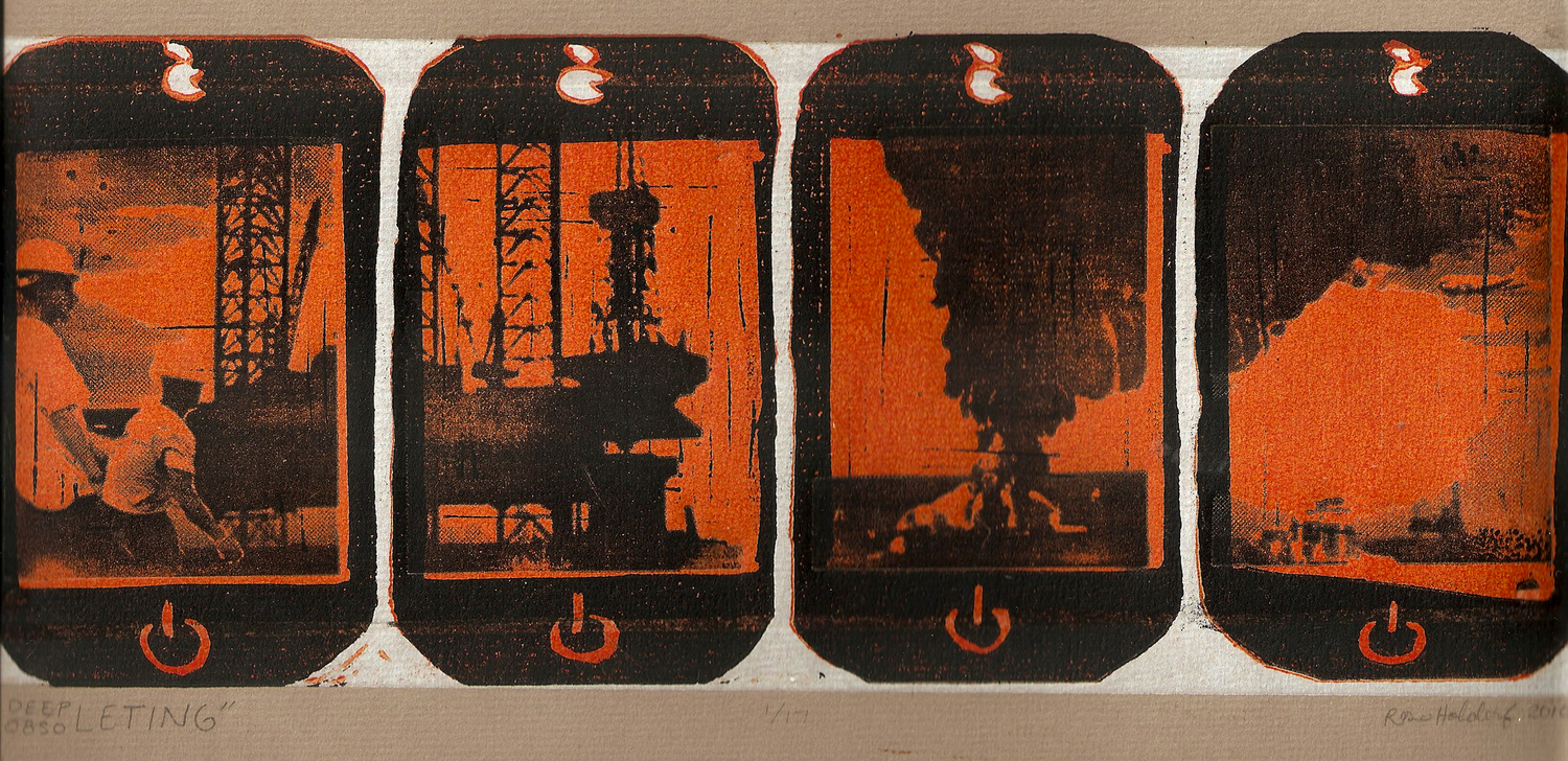 DEEPleting Obsoleting   Suicide linoleum relief and photopolymer print,  2010 .  This print reconnects media objects to natural resources. It includes a montage of found images relating to the recent oil spill off of the Gulf Coast depicted through four iPhone interface frames. Media commodities, like the iPhone, are fetishized because the use-values of the products, relating to communication and media consumption, are disconnected not only from the chain of production but also from its physical object.