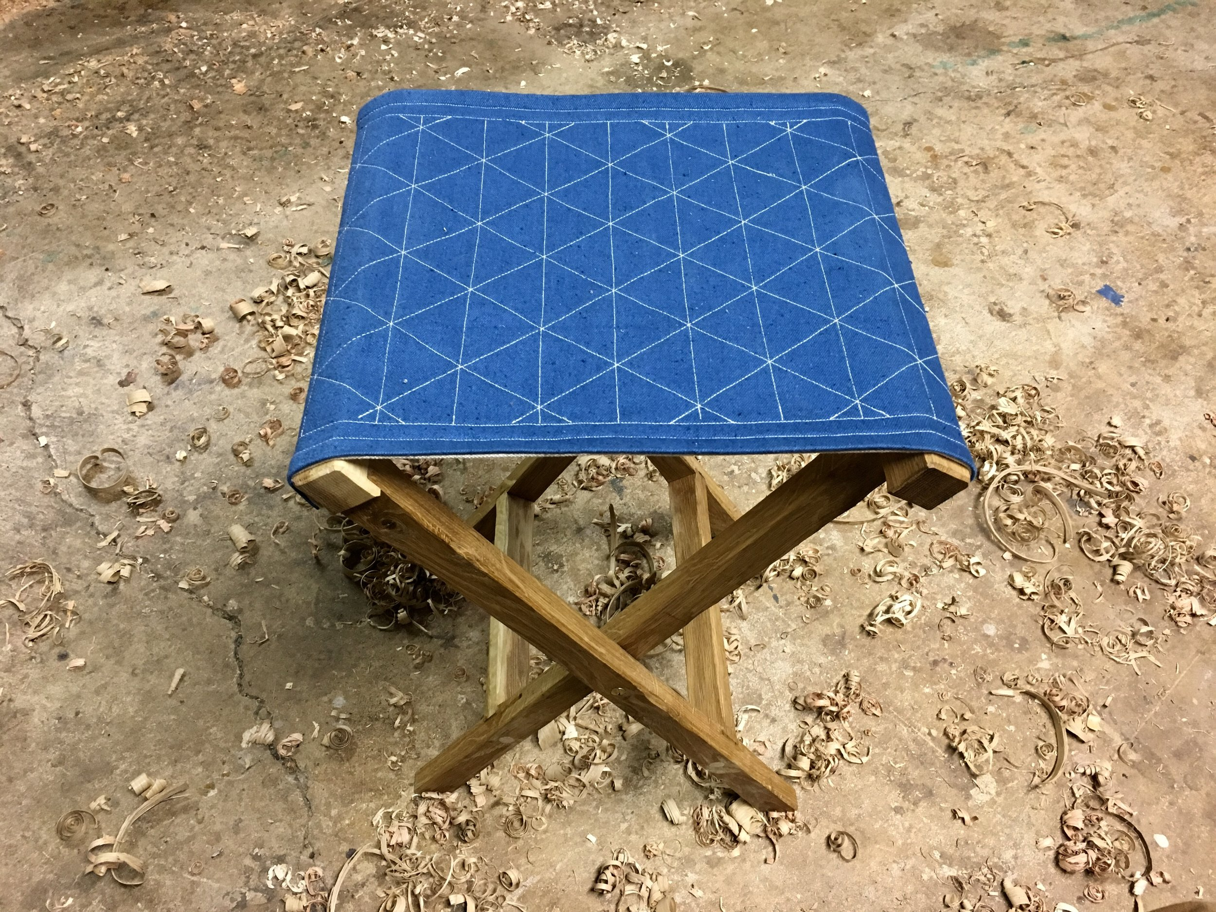 Folding camp stool made from Oregon White Oak, 2018.