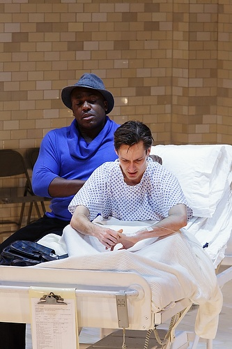 DeObia Oparei as Belize, with Luke Mullins as Prior Walter