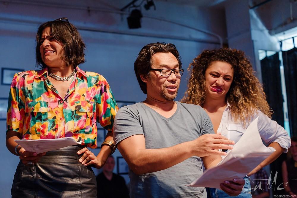Jen Gardner,  Felino Dolloso  and   Emily Haveain Tania Cañas' THREE ANGRY AUSTRALIANS.