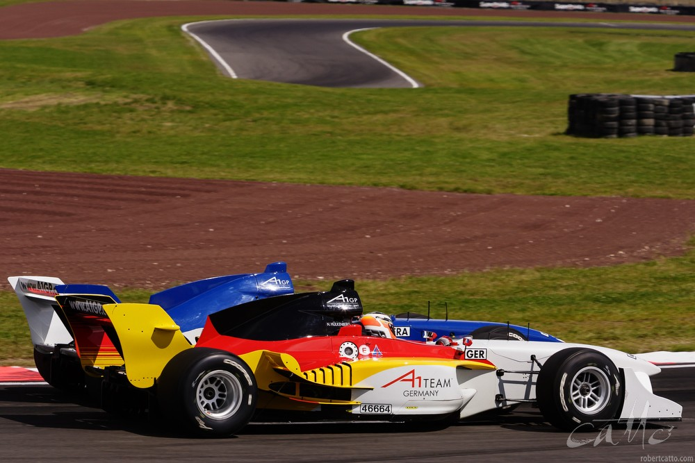 Nico Hulkenberg and Loic Duval in the A1 Grand Prix race.