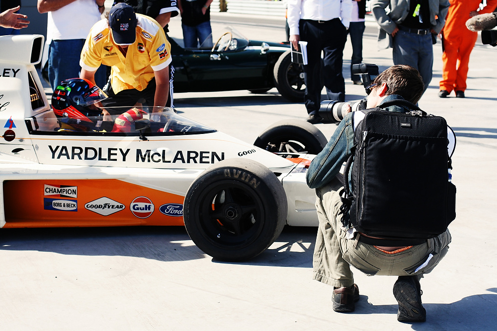 About to (nearly) get run over by Emerson Fittipaldi in a 1974 McLaren F1 car.