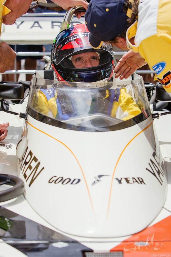 Emerson Fittipaldi in the 1974 McLaren Grand Prix car.