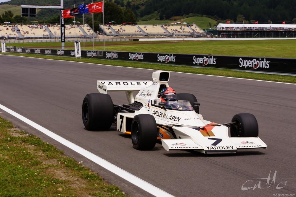 Emerson Fittipaldi driving the 1974 McLaren Grand Prix car.