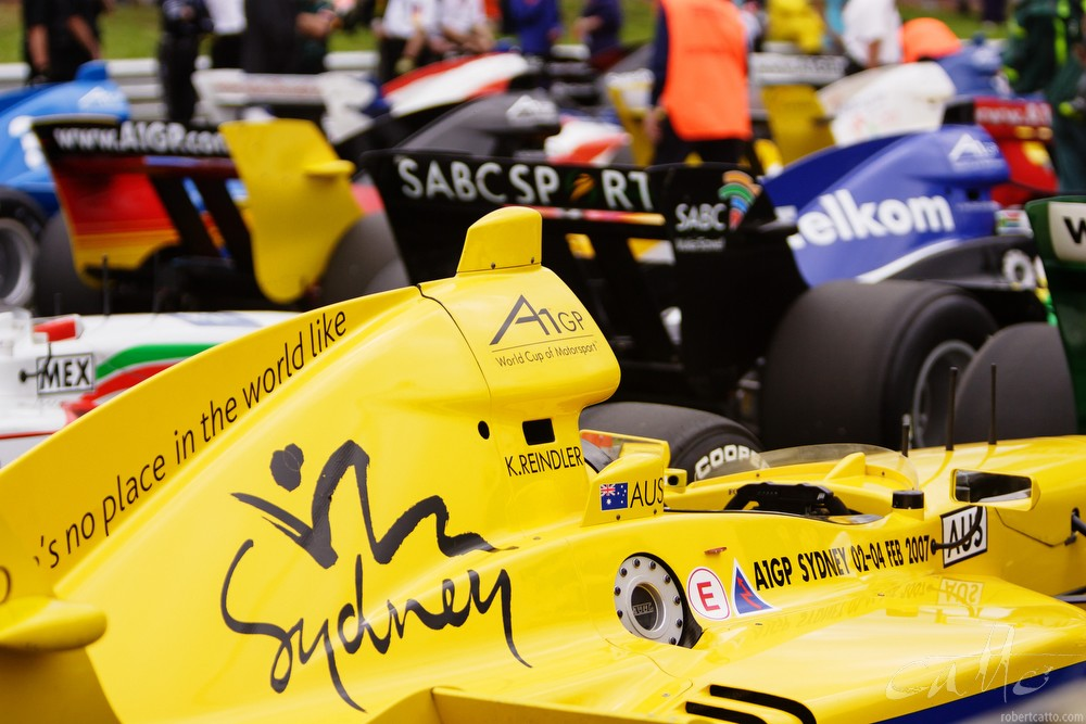 A1 Grand Prix cars on the grid