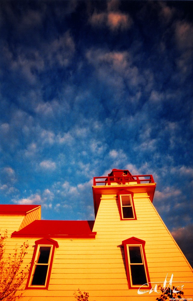 Sunset at Pointe-au-Baril Lighthouse, on Georgian Bay in Canada, 1999 [click to embiggen]