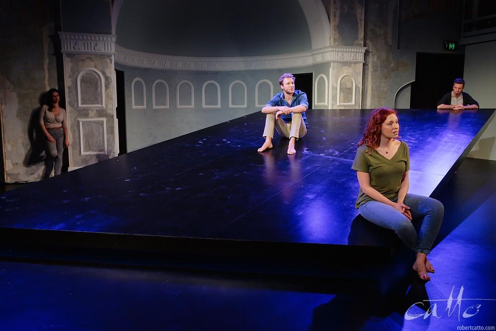 Emma Palmer, Tom O'Sullivan, Gabrielle Scawthorn, and Aaron Glenane  in Fourplay at the Darlinghurst Theatre Company, Sydney.