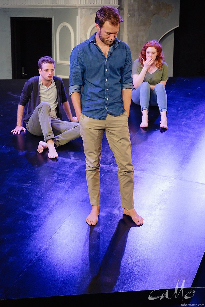 Aaron Glenane, Tom O'Sullivan and Gabrielle Scawthorn in Fourplay at the Darlinghurst Theatre Company, Sydney.