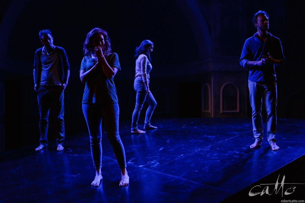Aaron Glenane,Gabrielle Scawthorn, Emma Palmer and Tom O'Sullivan in Fourplay at the Darlinghurst Theatre Company, Sydney.