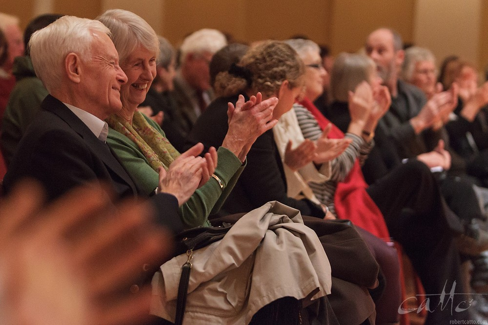 The audience react at Madeleine Pierard's recital for Chamber Music New Zealand, at Wellington Town Hall in 2012.