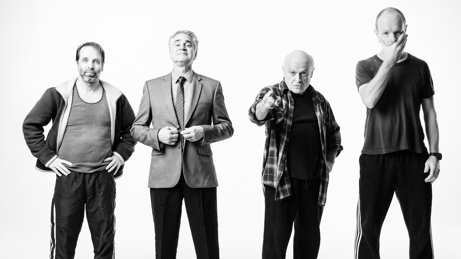 The cast of The Dapto Chaser - Jamie Oxenbould, Noel Hodda, Danny Adcock and Richard Sydenham.