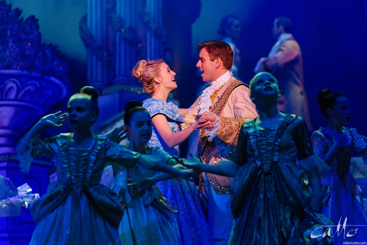 Jaime Hadwen (Cinderella) and Tim Maddren (Prince Charming) dance at the ball at the State Theatre in Sydney.