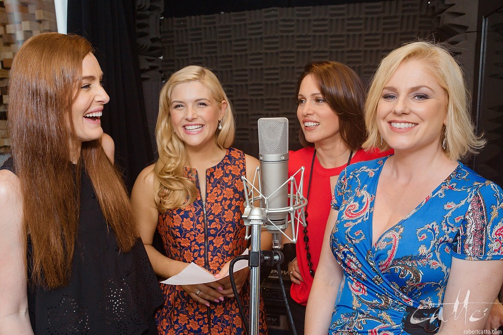 Jemma Rix, Lucy Durack, Amanda Harrison and Helen Dallimore at the recording studio, a few months prior to the concert.