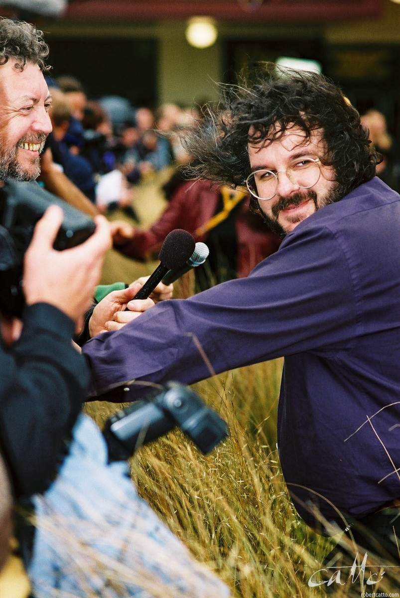 Peter Jackson being interviewed at the Lord Of The Rings: Fellowship Of The Ring Premiere at the Embassy Theatre, Wellington, New Zealand.