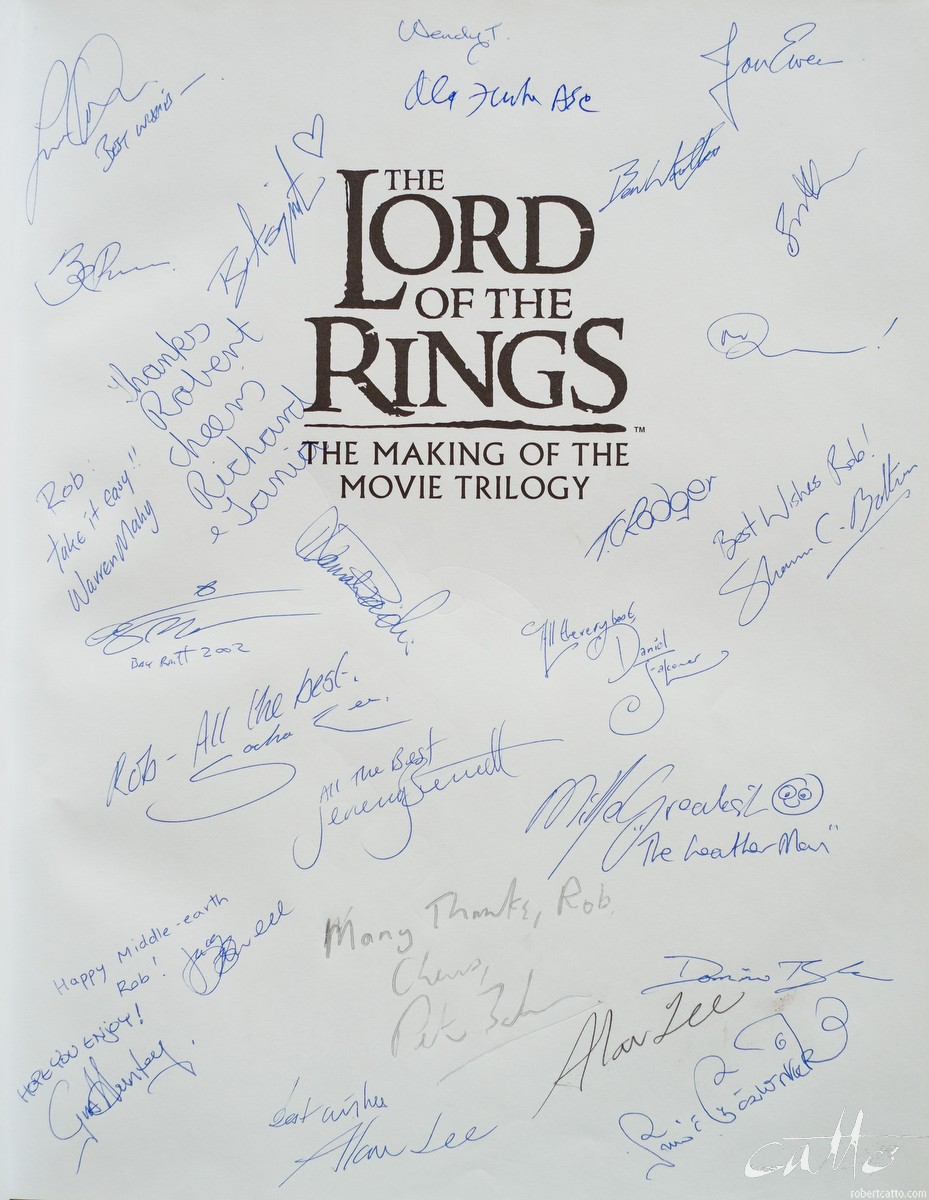 Too many names to count! Most are crew from Weta Workshop, but I also see the delightful miniatures cinematographer Alex Funke, plus Alan Lee (twice?) and Peter Jackson in there.